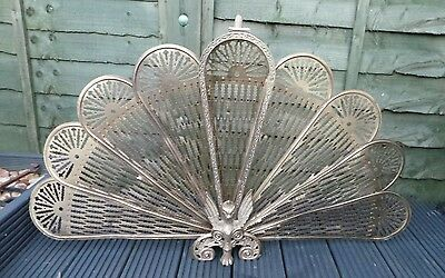 Vintage Antique Brass Folding Peacock Fan Fire Screen Quard Surround Griffin Des