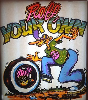 Vintage 1974 Day-Glo RoAcH Roll Your Own Iron-On Transfer R Crumb Style RARE!
