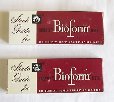 2 Vintage Trubyte Bioform Teeth Shade Guide Dentist Dental Dentistry Denture Box