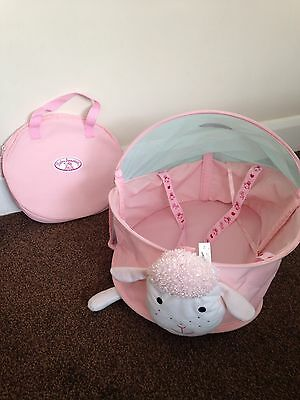 Baby Annabell Sheep Collapsable Travel Cot Pink foldable Doll Zapf Creation