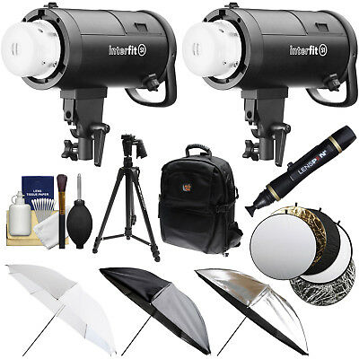 Interfit S1 500ws HSS TTL IGBT Studio Flash Strobe Monolight x2 Kit