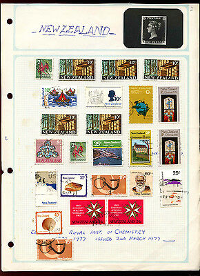 New Zealand Album Page Of Stamps #V5015