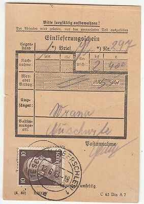 KZ  Auschwitz receipt for money 1943r.