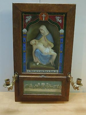 antique catholic cupboard wooden for last rite.VERY GOOD  shape 1909..see ..low
