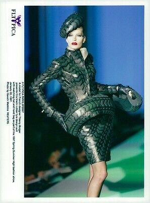 Vintage photo of One of Thierry Mugler's models at the Paris Fashion Show.