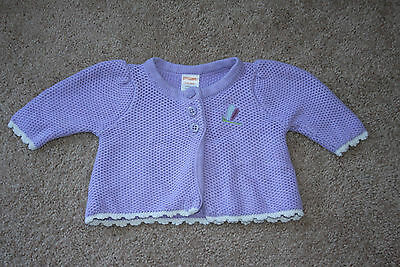 Gymboree Dragonfly Sweater Infant Girls Purple Cardigan Newborn 0-3 m Layette