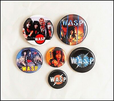 WASP Lot Of 6 80's Buttons Pins Blackie Lawless