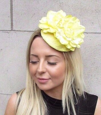 Lemon Light Yellow Flower Fascinator Rose Races Wedding Hat Clip Hair Vtg 3134
