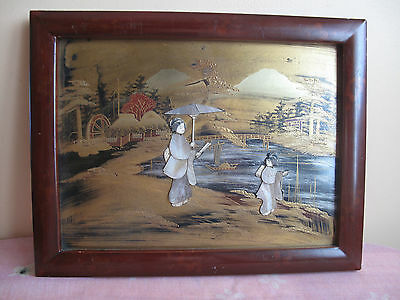Japanese Meiji Period Lacquer Shibayama Plaque Hand Gilded #2
