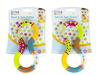 Baby Rattles Twist And Turn Rattle Teether Fun Play Learn Easy Grip Infant