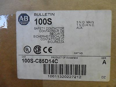 New Allen Bradley 100S-C85D14C Safety Contactor Guardmaster 110/120V 50/60Hz