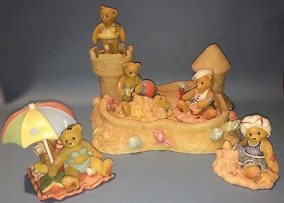 Cherished Teddies By the Sea 1996 6 Bears with Sand Castle Display