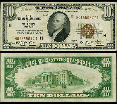 FR. 1860 H $10 1929 Federal Reserve Bank Note St. Louis Very Fine+