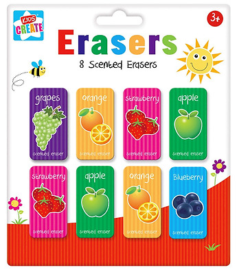 8 Children's Kids Fun Scented Erasers Rubbers School Novelty Party Bag Fillers