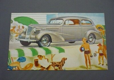 "Vintage 1937 CHEVROLET COACH Silver ""The Complete Car Completely New"" Postcard"