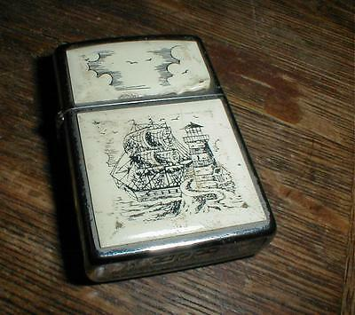 1992 Zippo Tall Sailing Ships & Lighthouse Scrimshaw Cigarette Lighter