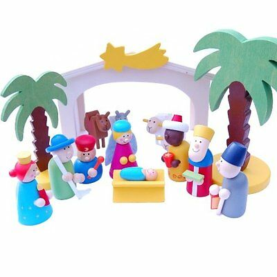Gisela Graham Kids Wooden Nativity Scene Set Bright Coloured Christmas