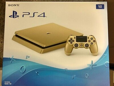 Gold Sony PS4 Slim LIMITED Edition Console Brand New 1 TB Playstation 4