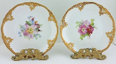 Antique Plate Hand Painted Pair Pink Flower Bouquet Raise Gold Rims