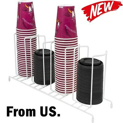 Cup & Lid Holder Organizer Compartment Dispenser Coffee Storage Rack Office Tray