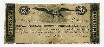 1816 $3 The Farmers and Mechanics Bank of Fayette County - PENNSYLVANIA Note