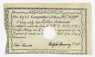 1790 Two Pounds - State of CONNECTICUT Interest Certificate