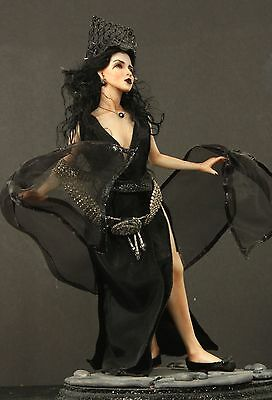 "12"" Sultry Witch Queen Hand Sculpted Polymer Clay OOAK Doll"