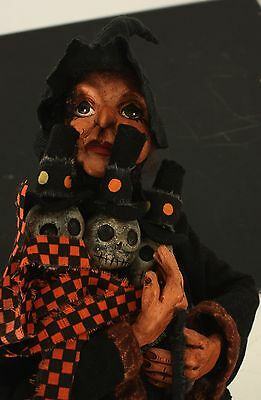 Ms. Tique Witch with Three Skulls OOAK by Verlene Brooks 2006