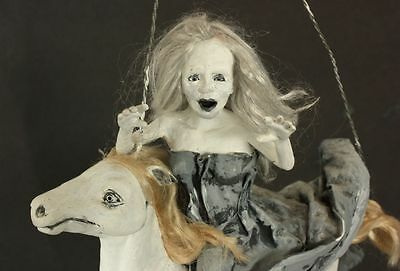 Flying Lady Ghost on Ghost Horse Painted Polymer Clay OOAK by Aleah Clay