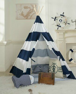 Kids Cotton Canvas Teepee Tent Playhouse w/Carrying Case-In&Outdoor- Navy Stripe