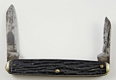 ANTIQUE 1920's CAMILLUS? KNIFE WORKS SLEEVEBOARD PEN KNIFE WITH BLACK SCALES • $9.99