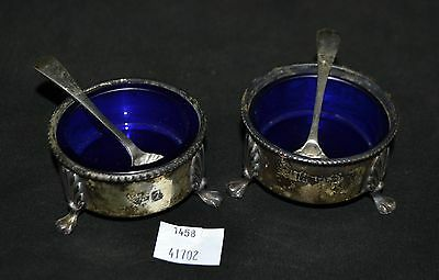 ThriftCHI ~ Silver Salt Cellars w Cobalt Blue Glass Inserts & Spoons