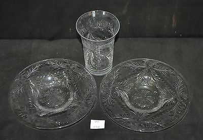 ThriftCHI ~ Delicate Cut Glass Cup & Saucers w Acid Etched Webb Marks England