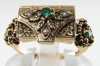 Rare 9Ct Gold Victorian Ins Emerald & Pearl Locket Poison Ring Free Resize
