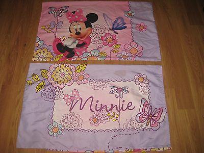 2 Disney 2 Sided Standard Minnie Mouse Pillowcase Flowers Butterfly