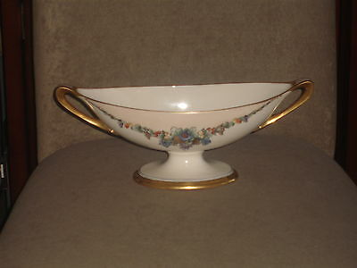 Rare Vintage Lenox Hand Painted Ivory Compote / Bowl Green Belleek Palette Mark