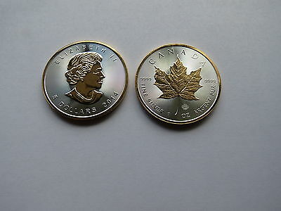 2014 Silver Maple Leaf 1 oz with  24k Gold Select