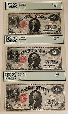 ***VERY RARE*** 3 Consecutive/Sequential 1917 $1 Legal Tender Notes! PCGS 63!!!