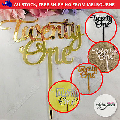 21st Birthday Twenty One Cake Topper Acrylic Party Decorations Gold Silver Black