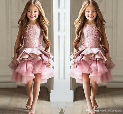 Pink Tulle Lace Communion Pageant Prom Party Ball Gown Formal Flower Girl Dress+