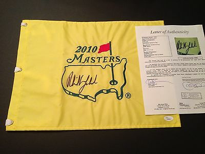 Phil Mickelson Signed 2010 Masters Flag,JSA/LOA !