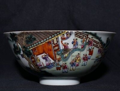 Rare Antique Chinese Hand Painting Porcelain Bowl Marked QianLong FA331