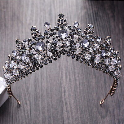 Black Gray Drip Crystal 7cm High Adult Wedding Party Pageant Prom Tiara Crown