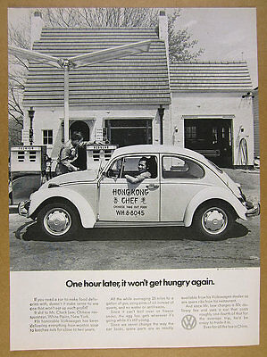 1971 VW Volkswagen Beetle chinese take-out delivery car photo vintage print Ad