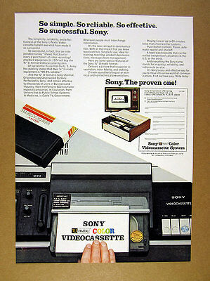 1974 Sony U-Matic Videocassette System vcr machine photo vintage print Ad