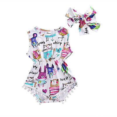 Cute Newborn Toddler Baby Girl Painting Bodysuit Romper Jumpsuit Outfits Clothes