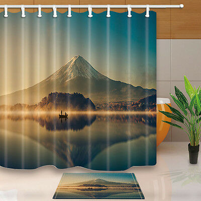 """71"""" Mountains and boats Waterproof fabric Home Decor Shower Curtain Bathroom set"""