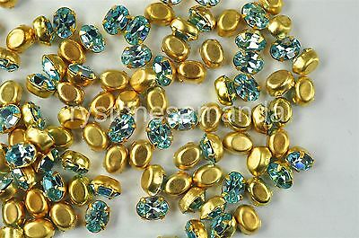 72pcs Swarovski Preset Oval Rhinestones 4100 6x4mm Aquamarine Color -V0638