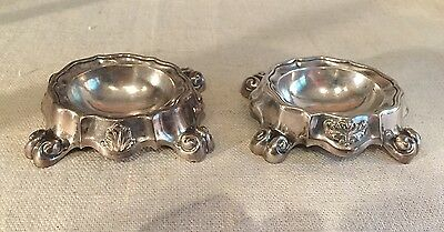 Antique Vienna Austrian Sterling Silver Pair Master Salt Cellars 1847