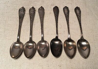 Russian 84 Antique Sterling Silver 6 Ornate Spoons 6""